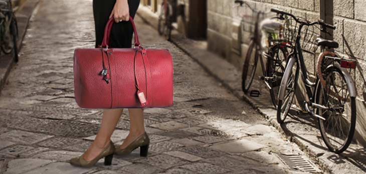 Florence streets travel leather bag