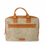 Leather and canvas men's briefcase