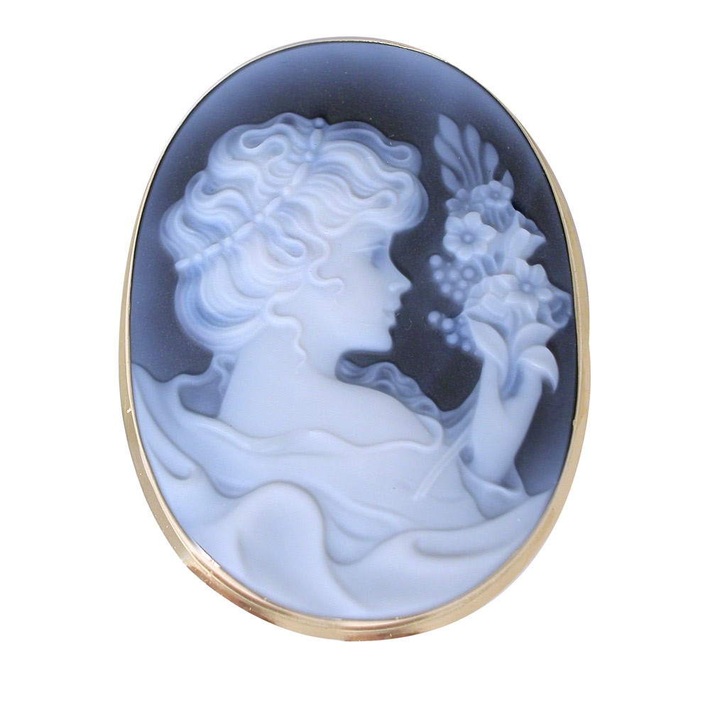 cameo brooch in black agate of victorian girl with spray of flowers
