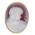 Red Victorian Style Agate Cameo