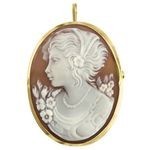 Victorian Woman Cameo Brooch