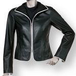 Classic Black Biker Jacket with white accents
