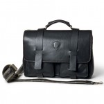Briefcase in Italian leather with shoulder strap