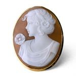 Set in 18k yellow gold Wearable both as a cameo pendant and a cameo brooch