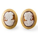 Set in 18k gold Cameo Earrings with Mirror images