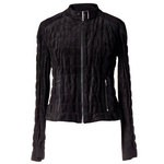 Womens Black Leather Jacket, puckered quilt design