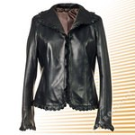 Black Leather Lace Jacket, womens