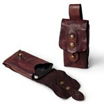 Campomaggi Cell Phone Holder in a distinctive cognac or dark brown washed leather