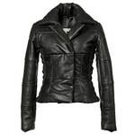 Classic Black Ladies Warm Leather Jacket