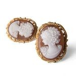 Italian Cameo Carnelian Earrings