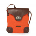 Ladies messenger style bag in genuine leather and wool