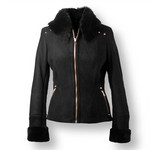 Black Shearling Leather Jacket for Women