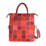 Leather Patchwork Handbags, shades of red