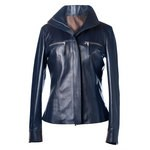 Blue Vintage Leather Jacket for Women