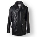 Black Italian Leather Coat for Men with double collar