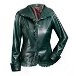 Emerald Green Leather Lace Jacket, women