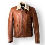 Men's Leather Aviator Jacket with shearling collar