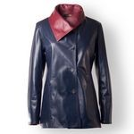 Women's Leather Coat in dark blue