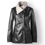 Italian Leather Coat for Women in classic black
