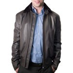 Leather Biker Jacket with removable fur collar