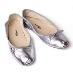 Porselli Metallic Silver Leather Ballet Flats