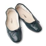 Porselli Forest Green Leather Ballet Flats