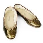 Porselli Metallic Bronze Leather Ballet Flats