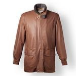 Men's Italian Leather Coat with green accents