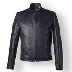 Blue Italian Leather Bomber Jacket