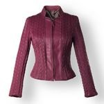 Quilted Leather Jacket for Women in bordeaux