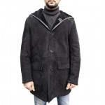 Shearling Leather Coat for Men with front buttons