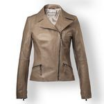 Cropped Brown Leather Jacket for Women