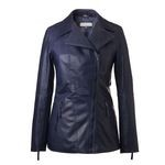 Women's Blue Italian Leather Coat