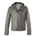 Italian Leather Hoodie for men in light gray