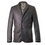 Dark Gray Leather Blazer with two front buttons