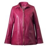 Women's Pink Leather Coat with front zip