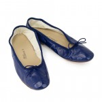 Porselli Dark Blue Leather Ballet Flats