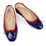 Porselli Blue Leather Ballet Flats with red trim