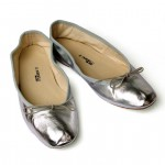 Porselli Metallic Gunmetal  Leather Ballet Flats