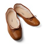 Porselli Tan Leather Ballet Flats