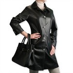 Ladies Black Leather Trench