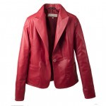 Cropped Red Leather Blazer
