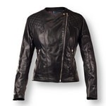 Quilted Accents on Women's Leather Jacket