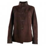 Ladies Reversible Brown Suede Leather Coat
