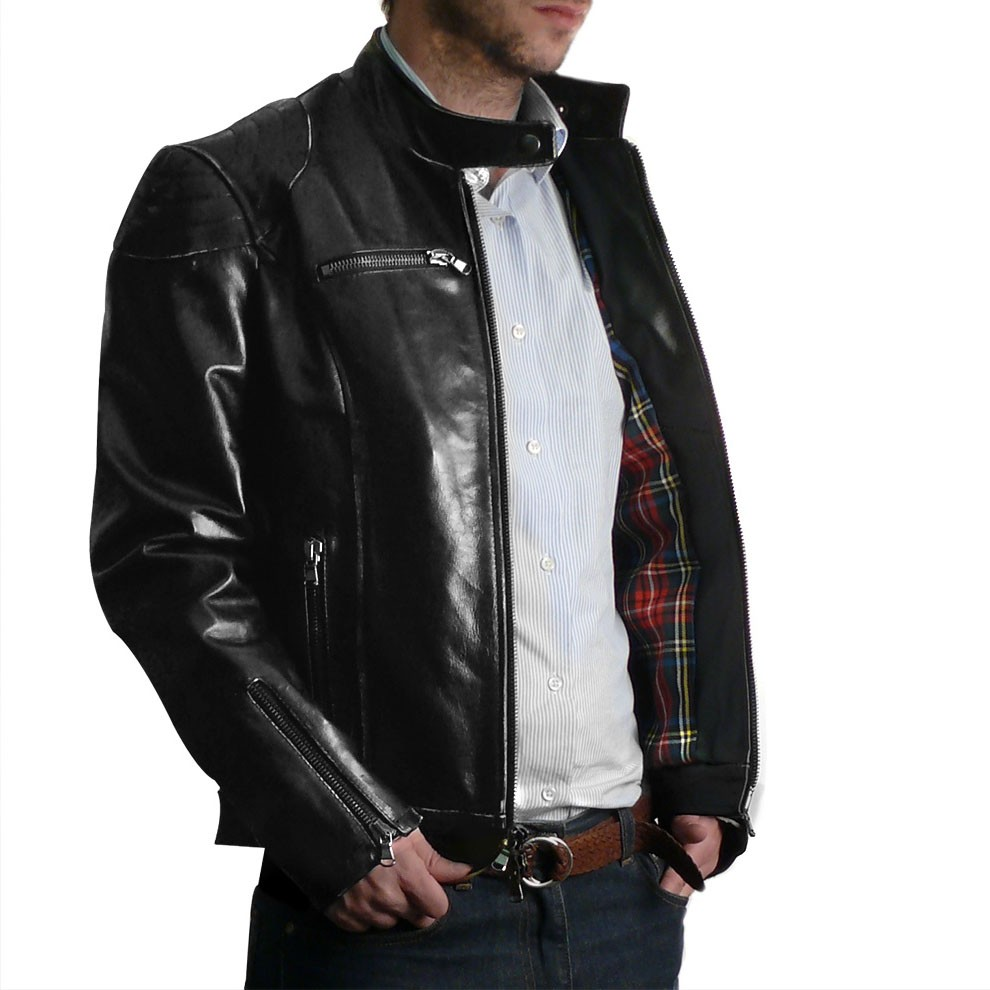 Black Quilted Shoulders Italian Leather Jacket for Men | Pierotucci