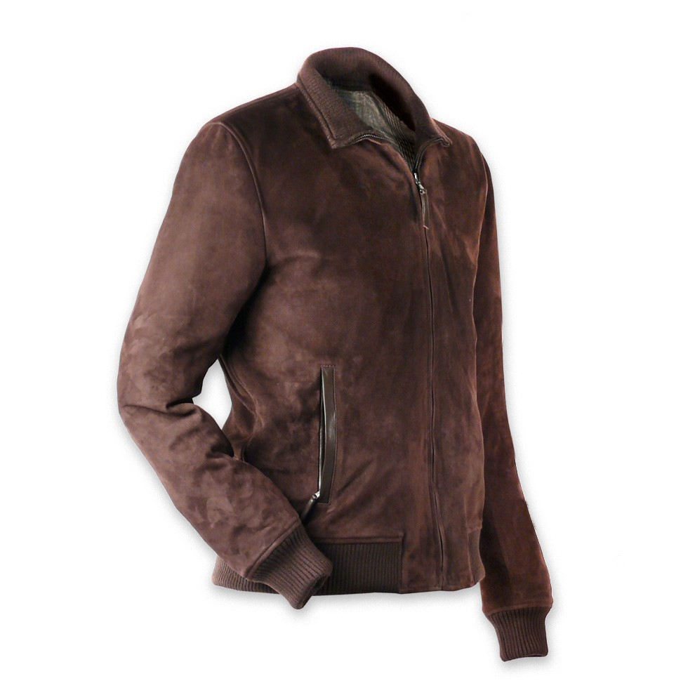 Brown Suede Leather Jacket for Men with front zip | Made in Italy