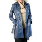 Belted Leather Trench in Blue