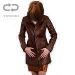 Ladies Long Reversible Coat in Dark Brown