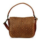 Front flap Bag with the Hand-Woven Leather Design