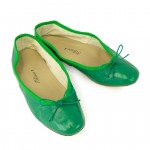 Porselli Green Leather Ballet Flats